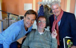 v. l. Helmut Gruhn, Schlaganfall-Betroffener Christian Theel, Frank Lehmann
